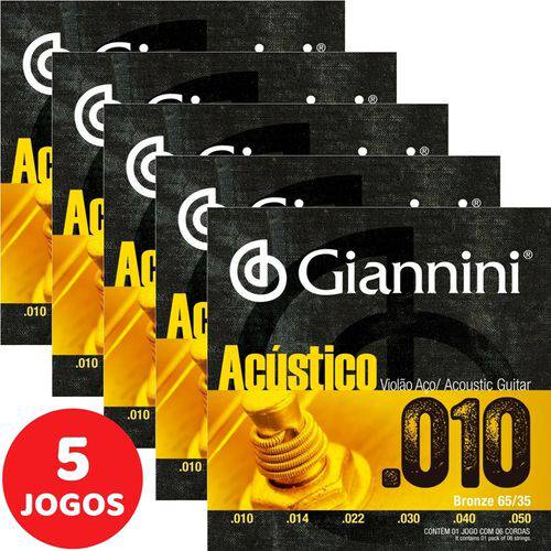 5 Encordoamento Giannini Acústico Violão Aço 010 050 GESWAM Bronze 65/35
