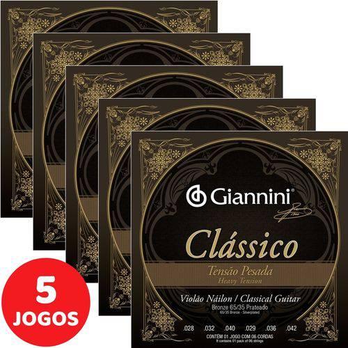 5 Encordoamento Giannini Clássico P/ Violão Nylon Tensão Pesada GENWPA