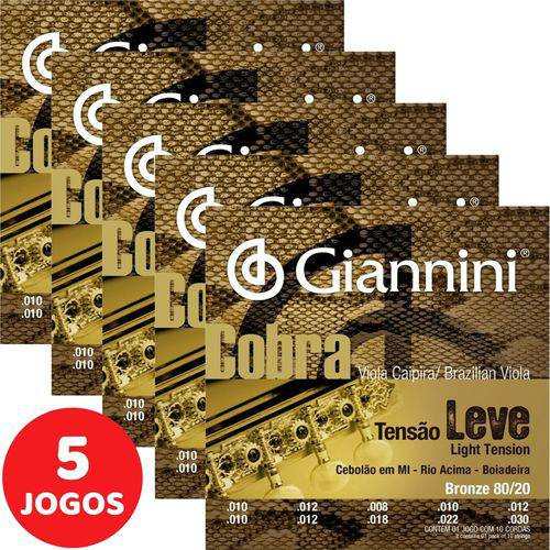 5 Encordoamento Giannini Cobra Viola Caipira Tensão Leve CV82L Bronze 80/20