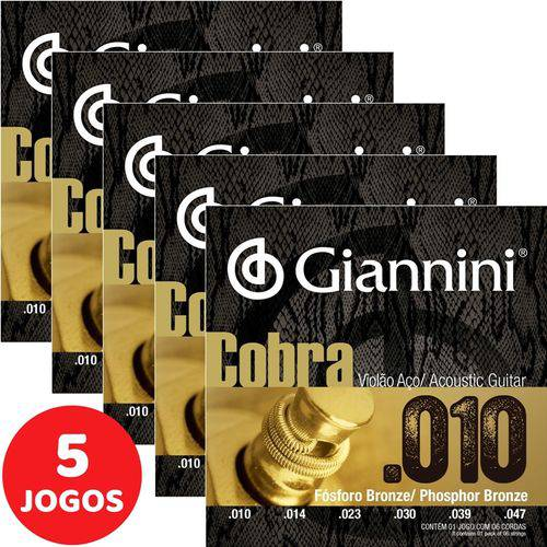 5 Encordoamento Giannini Cobra Violão Aço 010 047 GEEFLEF Fósforo Bronze