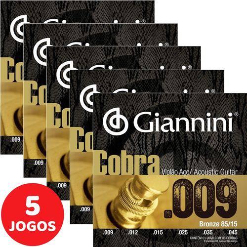 5 Encordoamento Giannini Cobra Violão Aço 09 045 GEEWAK Bronze 85/15