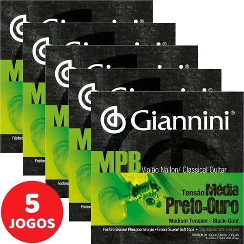 5 Encordoamento Giannini MPB Violão Nylon Tensão Média GENWBG Preto-Ouro