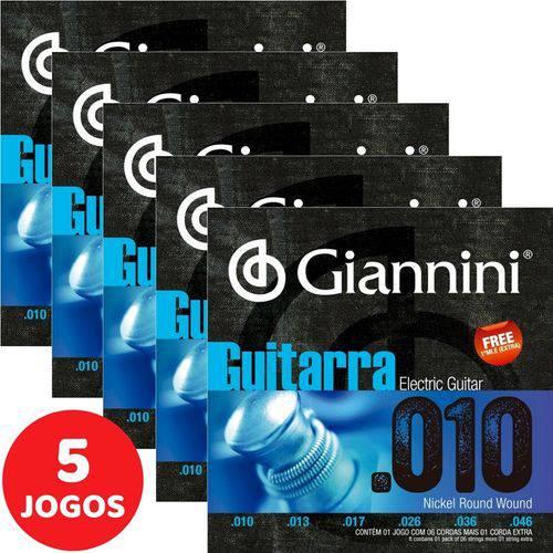 5 Encordoamento Giannini P/ Guitarra 08 038 GEEGST8 Nickel Round Wound