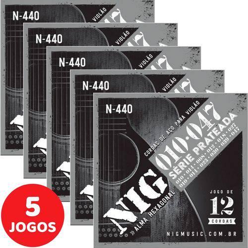 5 Encordoamento Nig P/ Violão de 12 Cordas 010 047 N440 Série Prateada