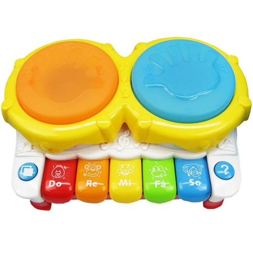 Piano e Tambor Infantil Brinquedo Instrumento Musical de Bebe com Luz e Som Musical