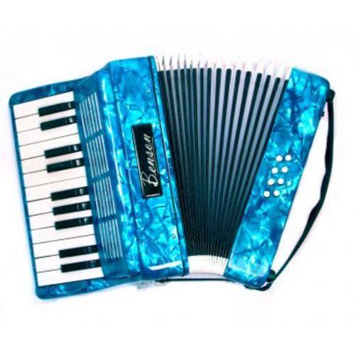 Acordeao 8 Baixos Benson Bac08pbl Azul Perola com 22 Teclas, Soft Bag