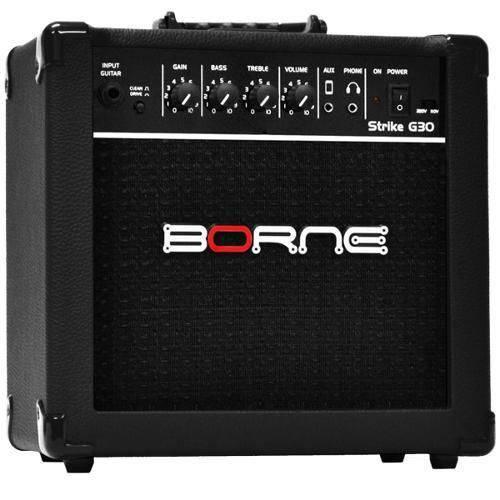 Amplificador Borne P/ Guitarra STRIKE G30 15 Watts RMS na Cor Preta