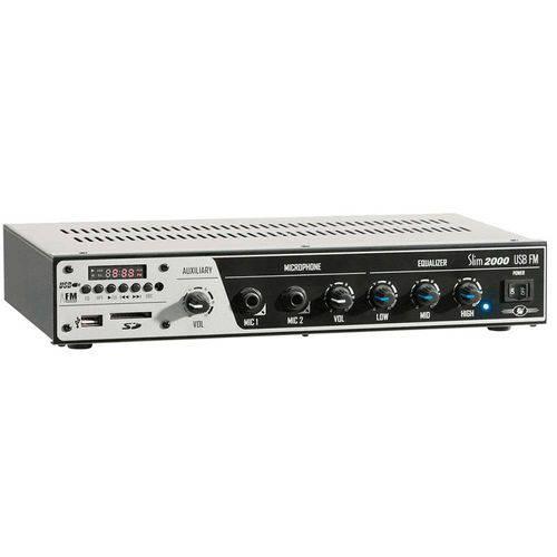 Amplificador de Som Ambiente Frahm Slim 2000 Usb Fm - Até 20 Caixas