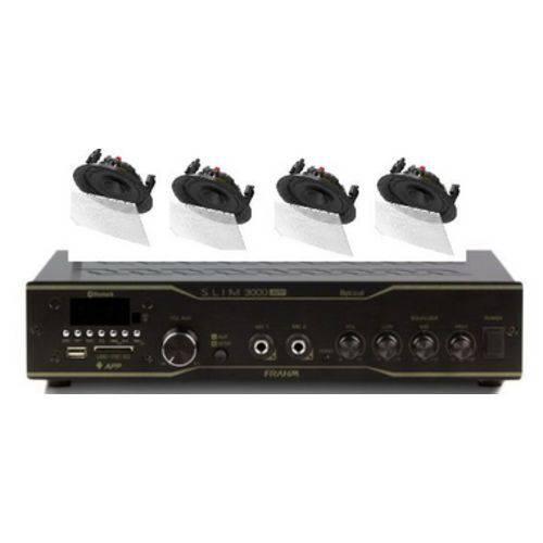 Amplificador Frahm Slim 3000BT App + 4 Caixas Gesso BSA S2 Brancas