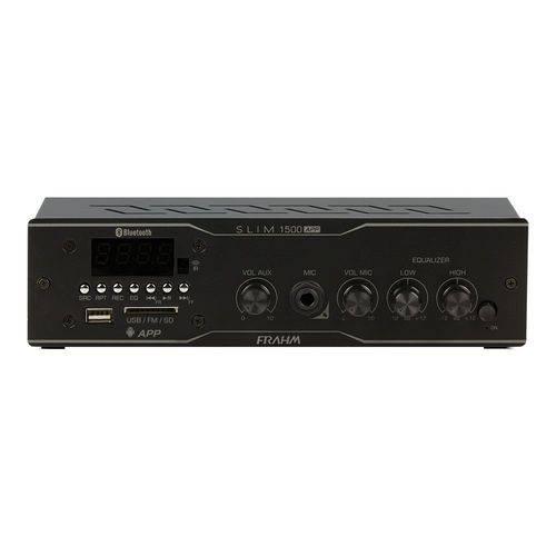 Amplificador Receiver para Som Ambiente Frahm Slim 1500 App Frahm 60w USB/ Sd/ Fm/ Bluetooth Bivolt