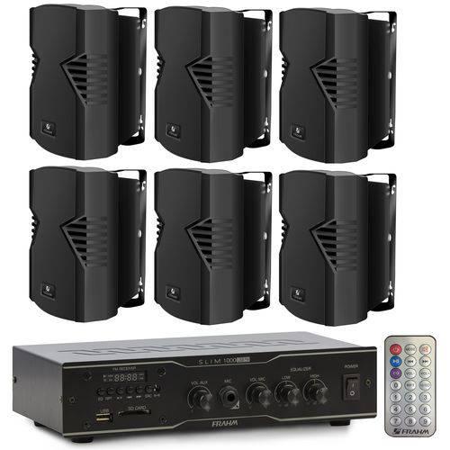 Amplificador Slim 1000 + 6 Caixa Ps4 S Frahm 60w
