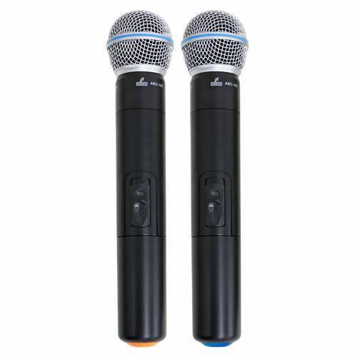 Arc-100 Microfone Sem Fio Duplo Uhf, 2 Transmissores Microfones de Mão Arcano