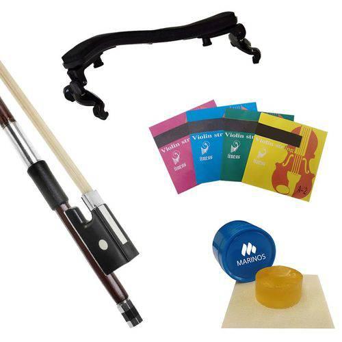 Arco para Violino Marinos 4/4 Mv-750bw + Breu Mb002 + Encordoamento Ms-violin + Espaleira