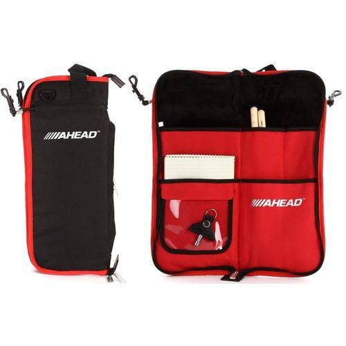 Bag de Baquetas Ahead Sb4 Red Black Plush Stick Case Padrão Top de Linha com Diversas Divisórias
