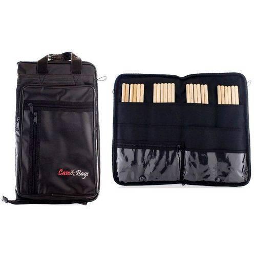 Bag de Baquetas Case & Bags Black em Eco Courino Tamanho Extra Grande Padrão Top de Linha