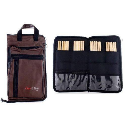 Bag de Baquetas Case & Bags Marrom em Eco Courino Tamanho Extra Grande Padrão Top de Linha