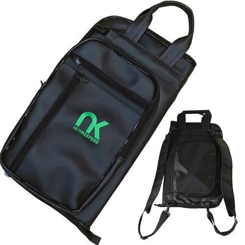 Bag Mochila para Baquetas em Couro Sintético Preto Newkeepers