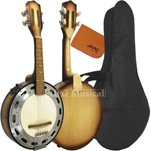 Banjo Elétrico Acústico Clave Sonora Sombreado com Capa Bag e Flanela
