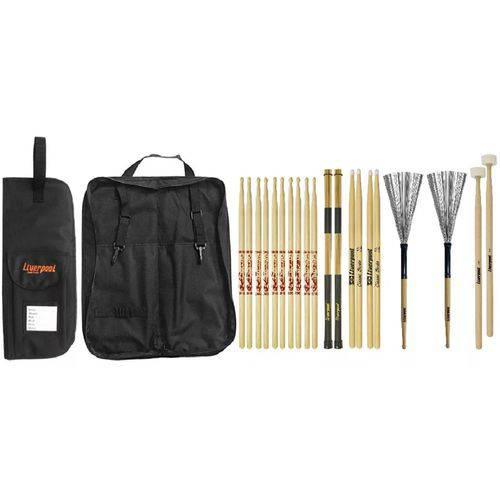 Baqueta 7A 5A Vassourinha, Mallet Feltro e Bag LIVERPOOL