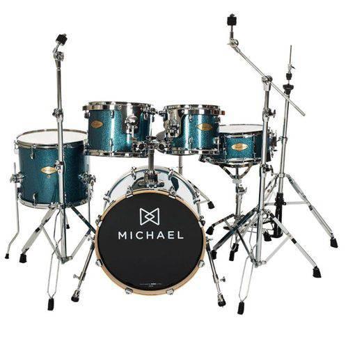 "Bateria Acústica Michael Elevation Dm851 Azul Sparkle Bumbo 18"""