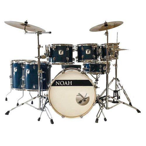 Bateria Acústica Profissional Noah Nell Drums Blue Wire Bumbo de 22