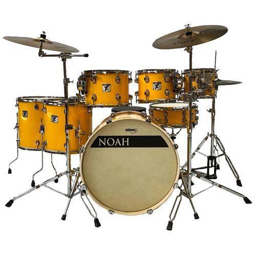 Bateria Acústica Profissional Noah Nell Drums Solid Yellow Bumbo de 20