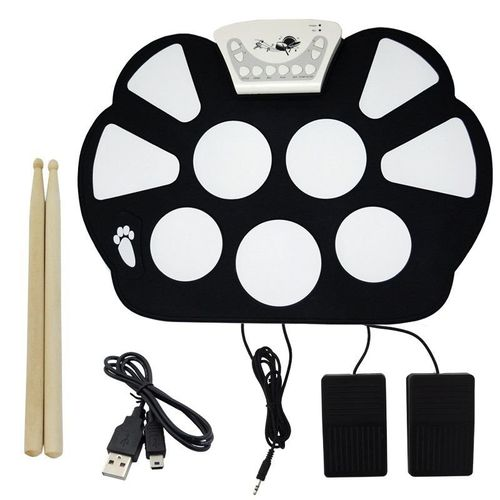 Bateria Eletrônica Musical Silicone Digital Roll Up Drum Kit 10 Pads 2 Pedais Baqueta Kh-w758 Preta