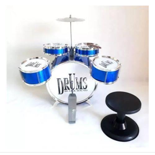 Bateria Infantil 4 Tambores 1 Bumbo 1 Prato Jazz Drum Azul