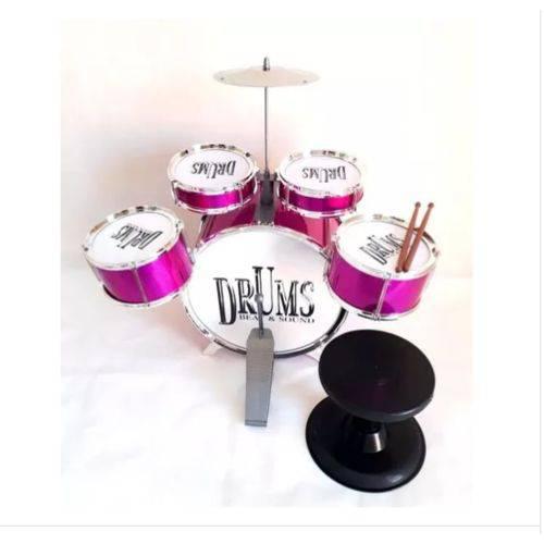 Bateria Infantil 4 Tambores 1 Bumbo 1 Prato Jazz Drum Pink