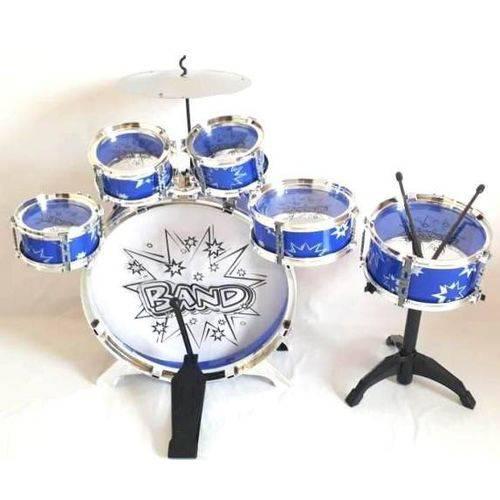 Bateria Infantil 5 Tambores 1 Bumbo 1 Prato - Big Band - Azul