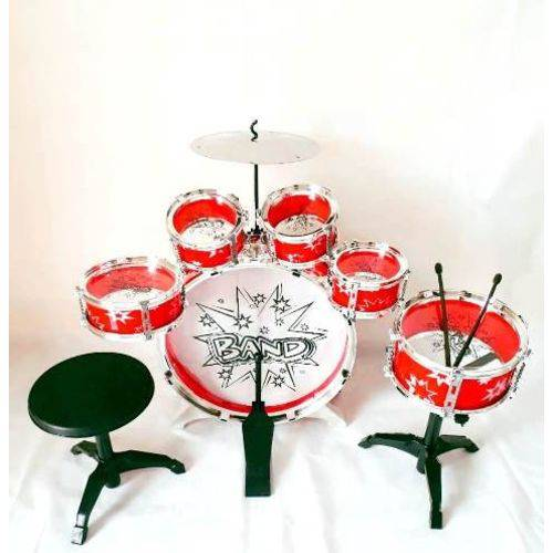 Bateria Infantil 5 Tambores 1 Bumbo 1 Prato Big Band Vermelho