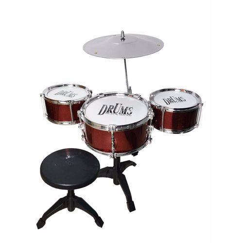 Bateria Infantil com Banquinho 3 Tambores Rock Drum