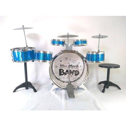 Bateria Infantil Jazz Drum Grande 5 Tambores 1 Bumbo 3 Pratos - Azul