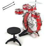 Bateria Musical Infantil com Banquinho 28807 Vermelho - Fênix