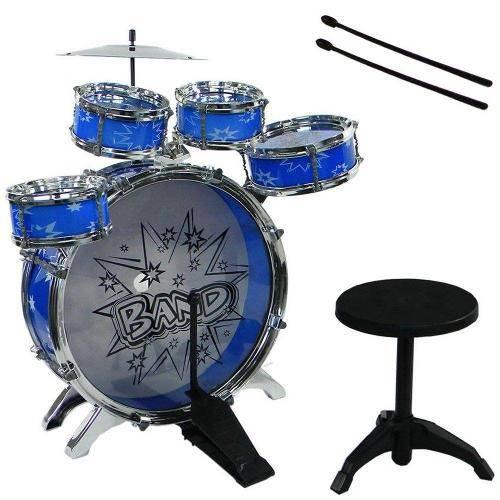Bateria Musical Infantil com Banquinho Azul 28807
