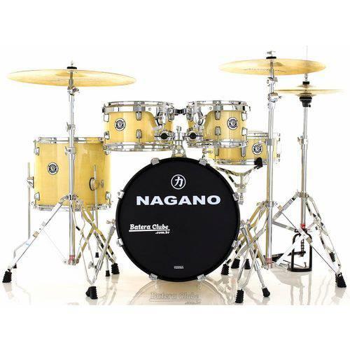 Bateria Nagano Garage Gig Natural Ivory Bumbo 18¨,10¨,12¨,14¨ Kit de Ferragens e Peles Hidráulicas