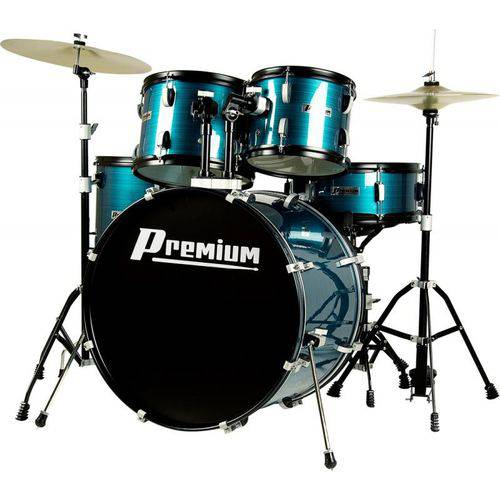 Bateria Premium DX722 Bl - Acústica, Cor Azul, Bumbo 22'', com Banco e Pratos