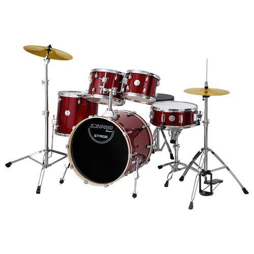 Bateria Stage Completa com Bumbo 20 Vinho X-Pro Drums
