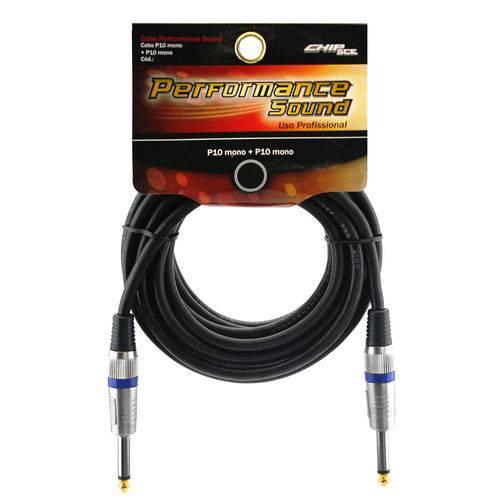 Cabo P10 Mono + P10 Mono - 10 Metros - Uso Profissional - Performance Sound - Chip Sce 018-8020