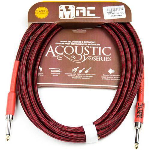 Cabo para Instrumentos Mac Cabos Acoustic Series 3.05m Têxtil P10 Reto