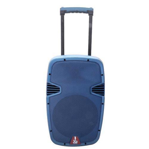 """Caixa Acústica Amplificada Ativa Portátil K2 Áudio 12"""" Preta e Azul 160W Rms Led C/ Bateria"""