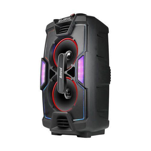 Caixa Amplificada Amvox Aca 200 Bluetooth Usb Microsd Auxiliar Rádio Fm Recarregável Bivolt