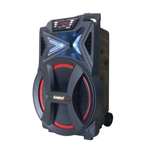 Caixa Amplificada Amvox Aca 501 New Led Bluetooth Usb Microsd Auxiliar Rádio Fm Recarregável Bivolt