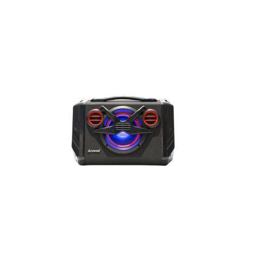 Caixa Amplificada Boombox Portátil Amvox Aca 110 Black Bluetooth Usb Microsd Auxiliar Rádio Fm 80w
