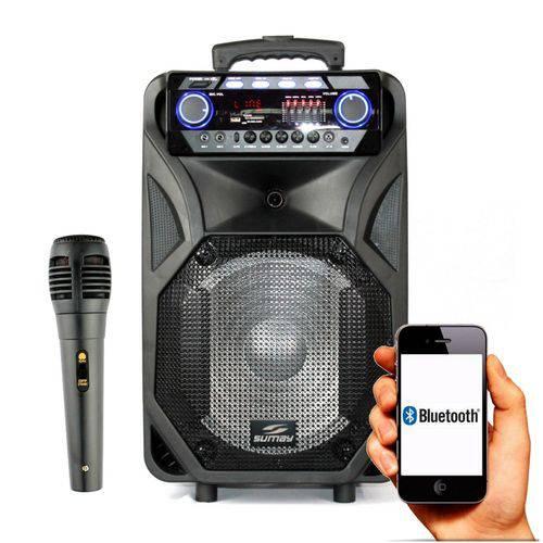 Caixa Amplificada Sumay Thunder Black 400w Bluetooth Microfone USB FM