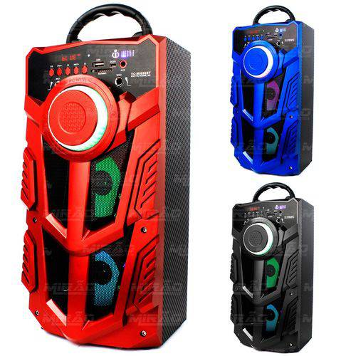 Caixa Bluetooth 12watts Super Bass com Visor Duas Entrada para Mic e Chave de Led Dj - Vc-m883qbt