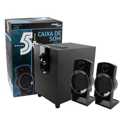 Caixa de Som 2.1 - 1000w - Usb - Entrada Cartão Sd - P2 - Bivolt - Chip Sce 5+ 015-0024