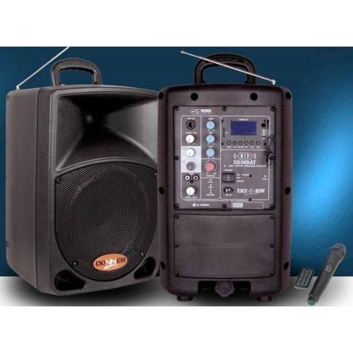 Caixa de Som Amplificada Dr08 Bat Donner, Bateria / USB / Bluetooth / Fm e 1 Microfone Sem Fio