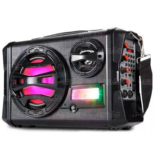Caixa de Som Bluetooth Acústica Maleta Multimidia FM/USB/SD Até 80W com Pisca LEDINFOKIT - VM-P3202