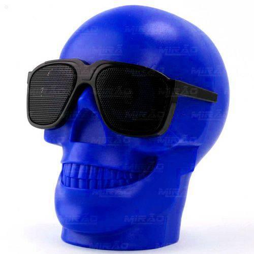 Caixa de Som Caveira Bluetooth Grande com Entrada Mini Sd Azul Exbom - Ch-m29
